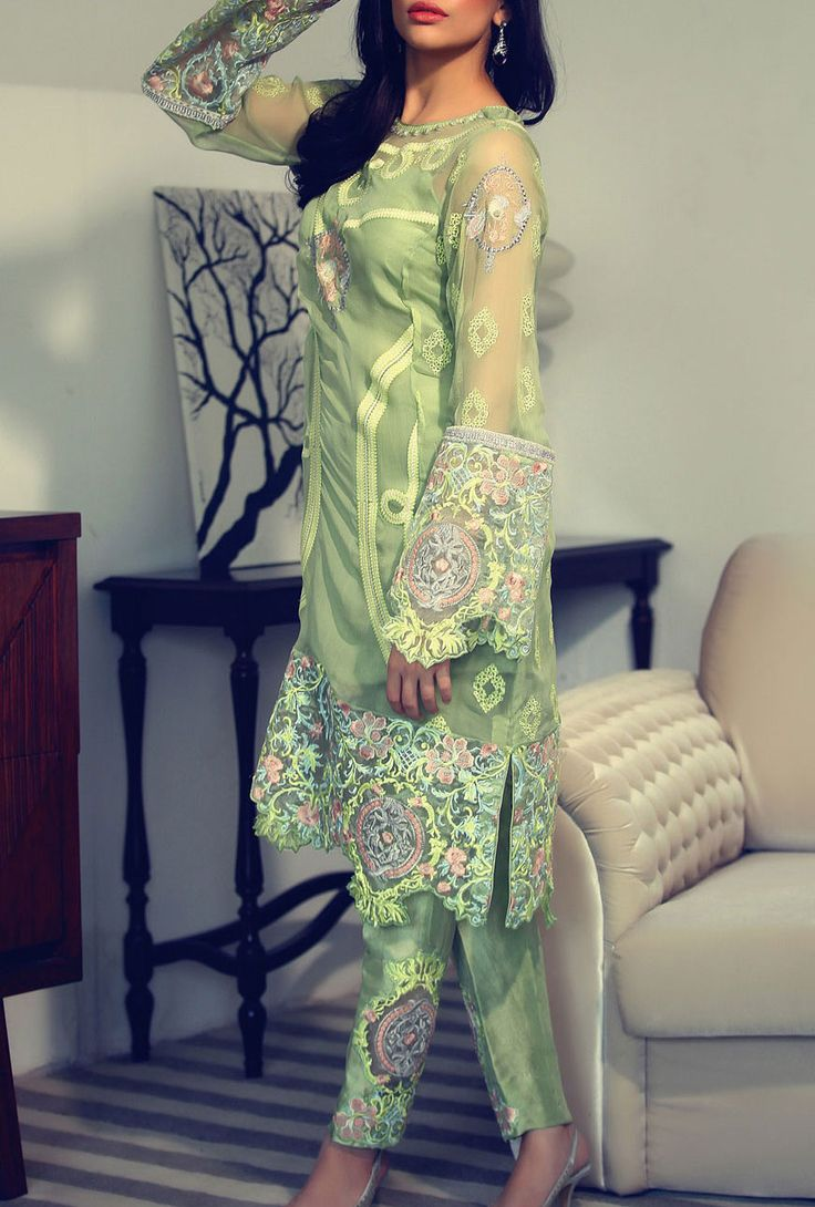 Buy Apple Green Embroidered Chiffon Dress by RungRez 2015.