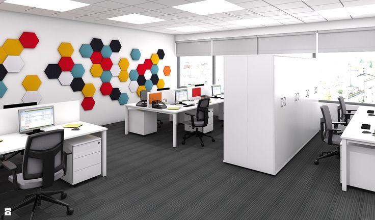 Pomysł na ścianę, aranżacja ściany, open space, biuro (projekt: www.mikomax.pl) - zdjęcie od Fluffo, Fabryka Miękkich Ścian - Wnętrza publiczne - Styl Nowoczesny - Fluffo, Fabryka Miękkich Ścian