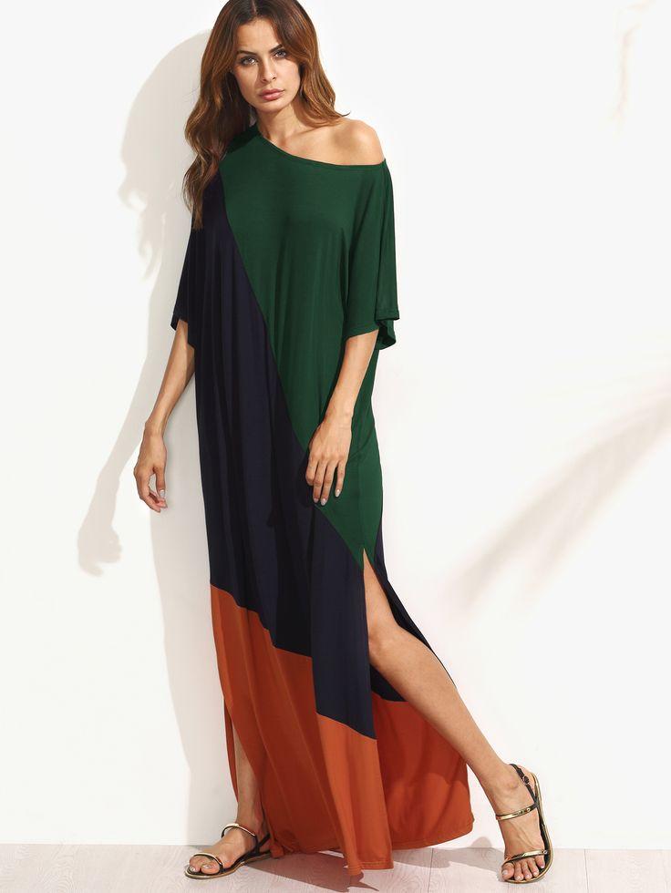 Shop Asymmetric Shoulder Side Slit Cut And Sew Tee Dress online. SheIn offers Asymmetric Shoulder Side Slit Cut And Sew Tee Dress & more to fit your fashionable needs.