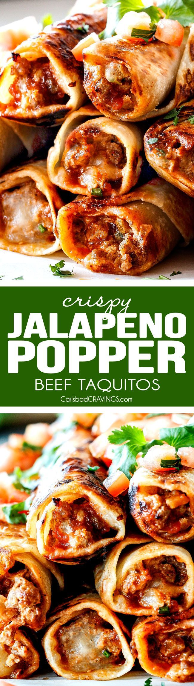 EASY 30 MINUTE Crispy Jalapeno Popper Beef Taquitos bursting with irresistible creamy, cheesy spicy beef filling (customizable) all cocooned in crispy tortillas! These are my husband's favorite ever appetizer and I couldn't stop eating them! Perfect game day any party appetizer!