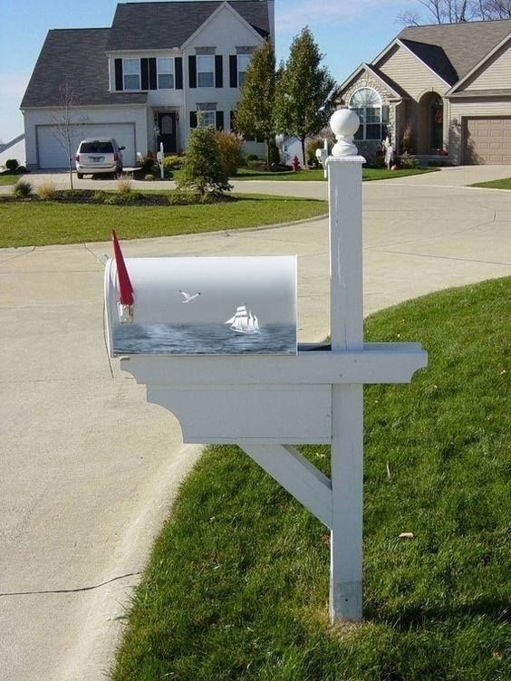 Hand Painted american Mailbox Sea landscape hand painted U.S