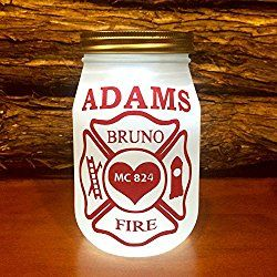Personalized Firefighter Lighted Mason Jar, Custom Firefighter LED night light