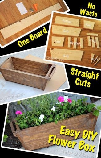 Zero scrap planter box from a single board flower diy for Tapered planter box plans