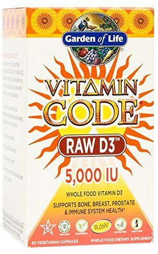 Garden of Life Raw D3 Supplement - Vitamin Code Whole Food Vitamin D3 5000 IU, Dairy and Gluten Free, Vegetarian, 60 Capsules //Price: $18.49 & FREE Shipping //     #hashtag2