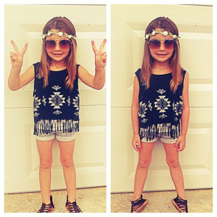Little girl fashion | hippie girl | toddler fashionista | stylish kids | tribal print | fringe shirt: