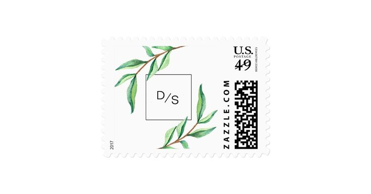 These modern, minimalist style wedding postage stamps feature a clean white background with green watercolor leaves and black text, along with your initials. See the entire coordinating collection here in my shop.