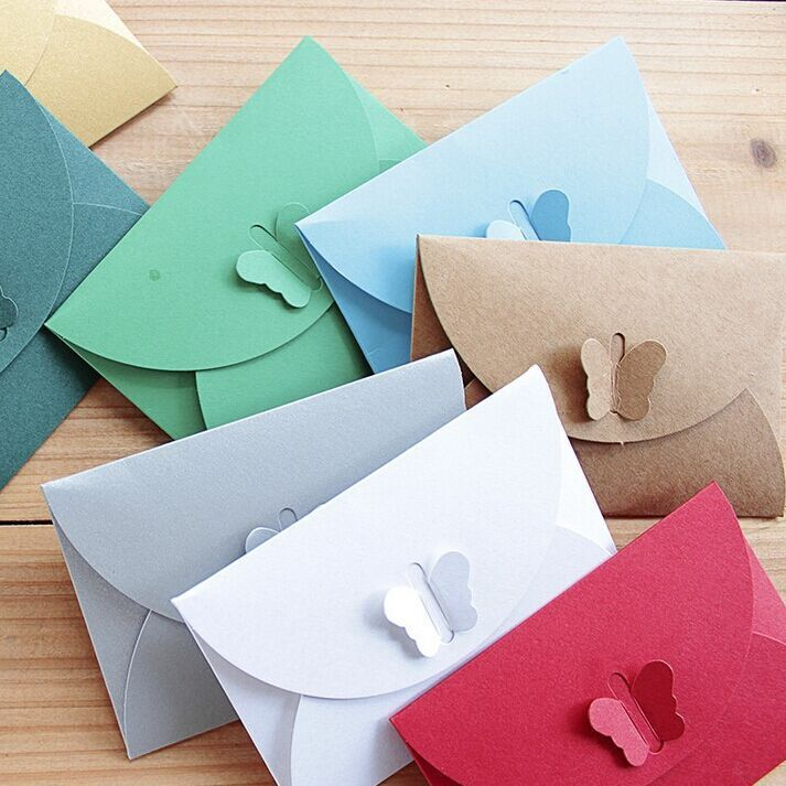 Coloré Simple Papillon Boucle Kraft Papier Enveloppes Rétro Boucle BRICOLAGE Décoratif Petite Enveloppe Carte D'invitation De Papier