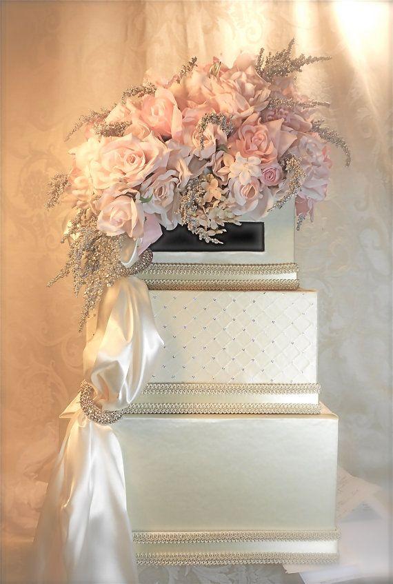 Ivory Pink Wedding Card Holder Wedding Card Box Secure Lock Silver Three Tier