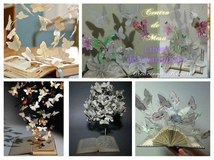 Centro de mesade Mariposascon libros | Manualidades