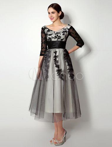 Lace Black Wedding Dress Tulle 3/4 Sleeve Tea-length Dresses