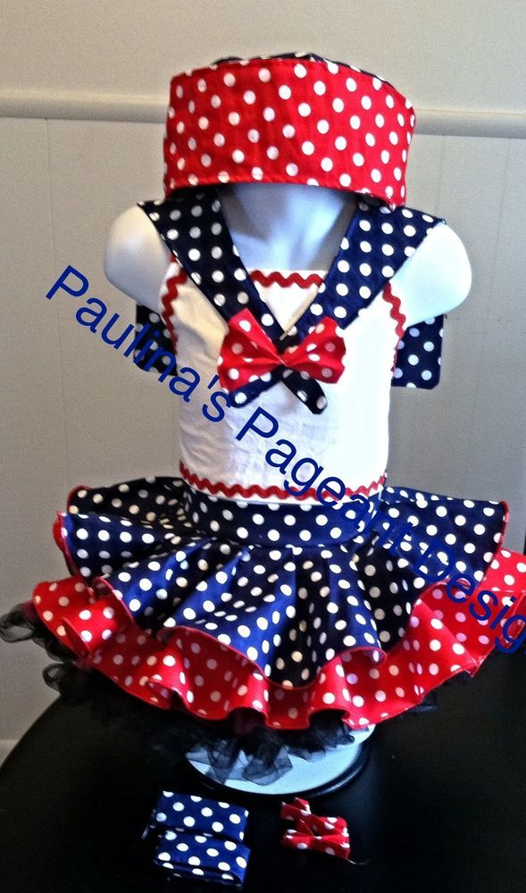National Pageant Casual Wear Dress Patriotic/Sailor. Size 12- 18mos #Handmade #DressyEverydayHoliday