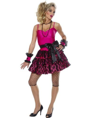 Adult 80s Party Girl Costume Cyndi Lauper Madonna Fancy Dress 1980s Outfit  - Small Size Only