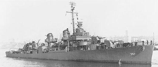 USS Johnston (DD-557) Fletcher class destroyer of the United States Navy, during World War II.