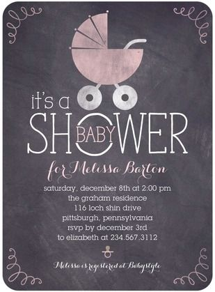 Shower mom-to-be with a fun chalkboard baby shower invitation.  Chalkboard Buggy - Baby Shower Invitations - Sarah Hawkins Designs - Blush - Pink : Front