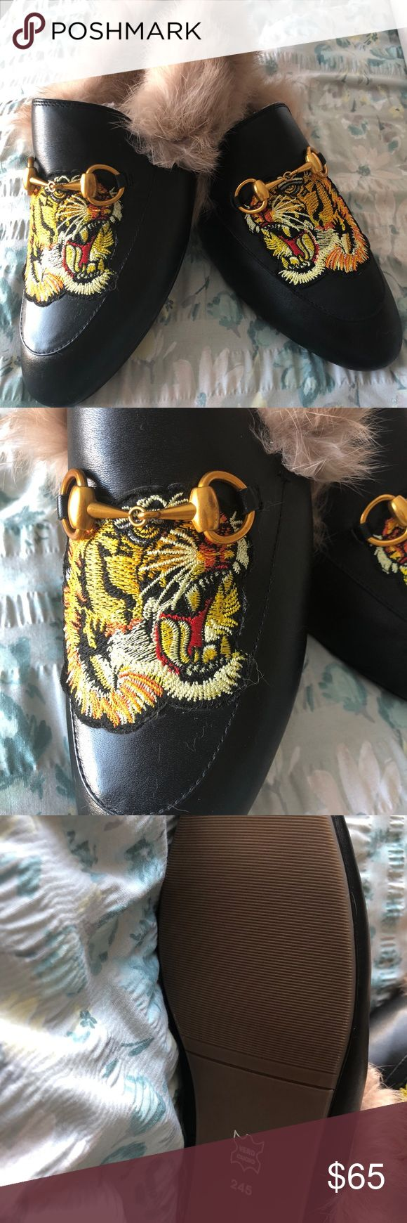 Fur loafers Fur loafers with tiger patch never worn. Shoes Flats & Loafers