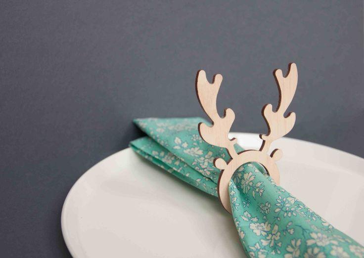 4 x servilleta de renos de Navidad anillos de ajuste de la