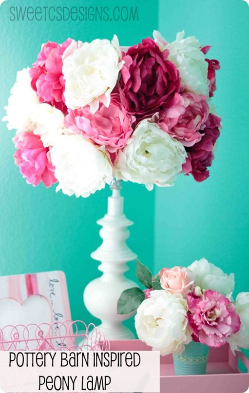 DIY - Pottery Barn Inspired Peony Lamp  OMG! I'm doing this next week! Perfect for my make up roon