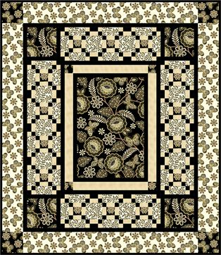 """Check out our FREE """"Wings of Gold"""" quilt pattern using the collection, """"Metallic Lace"""" by Dover Hill Studio for Benartex. Designed by Diane Nagle. Finished size: 52"""" x 60""""."""