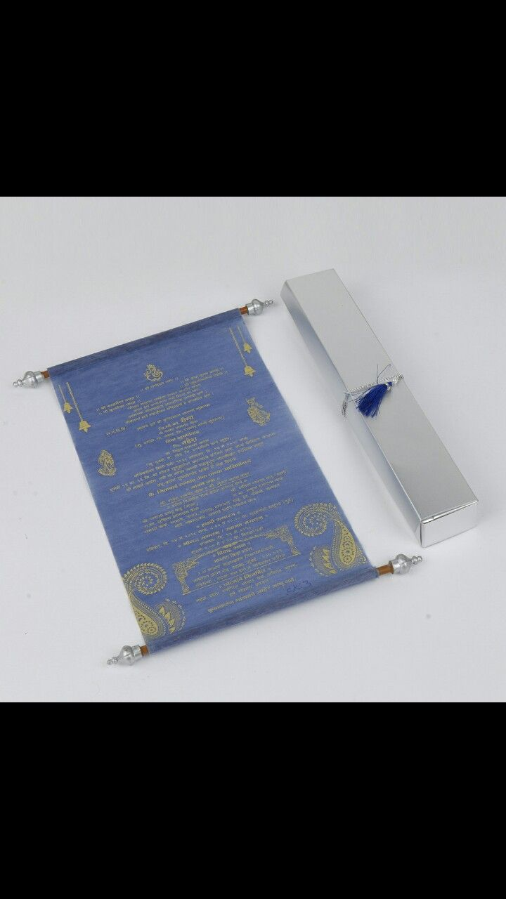 Scroll wedding invitation cards in purple Wooly
