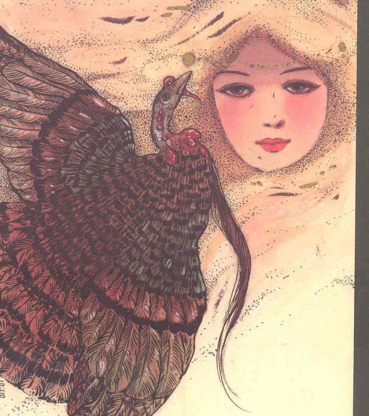 SCHMUCKER....ART NOUVEAU LADY & TURKEY BIRD,LTD ED POSTCARD FROM ORIGINAL ART