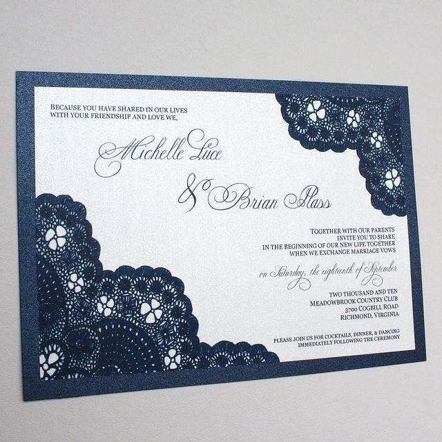Navy Wedding Invitations   Michelle U0026 Brianu0027s Navy Vintage Antique Lace Wedding  Invitation .