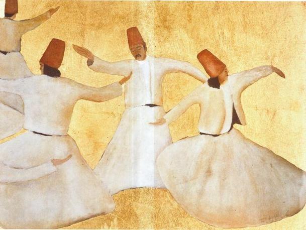 Franco Battiato- Dervisci danzanti, 1990-2000 litografia su tavola e fondo oro