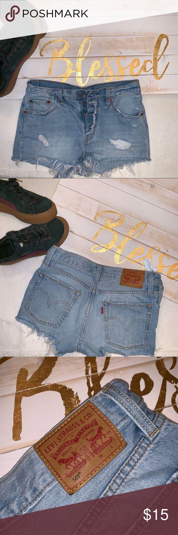 Levis Cutoff Distressed Denim Shorts 100% Baumwolle Größe 1 Lightwash-Cutoffs Levi …   – My Posh Picks