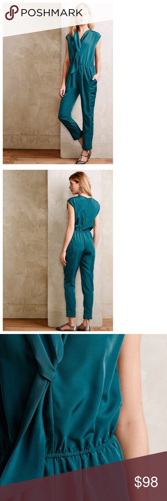 """Eva Franco Teal Green Jumper in Petite 6P Make me an offer! This beautiful jumpsuit/romper has only been worn a few times and is in great condition. The gathered waist is very flattering with a belt, and the teal green/blue is a great color for spring or fall. The cut is made just for petite figures, so if you're 5'4"""" tall or less, you're in luck!  The tag reads """"dry clean,"""" but it's a polyester crepe fabric that you can definitely wash by hand or on gentle cycle with cold water if you…"""