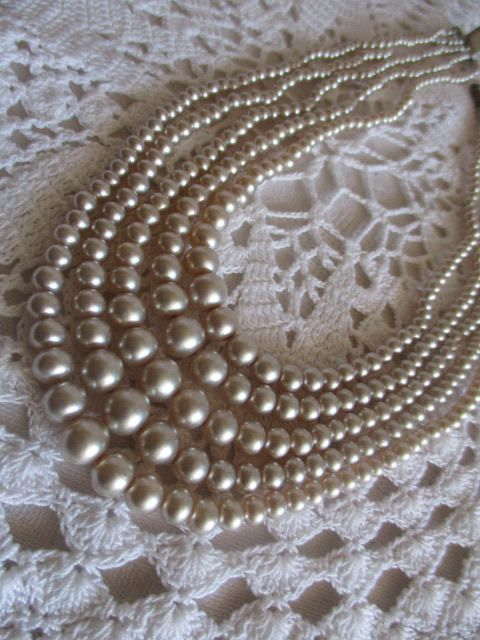 "Vintage Multi-Strand Champagne Coloured Faux Pearl Choker Necklace 14"" L Unsigned c1950 Mother's Day Buy by VantiqueFinds on Etsy"