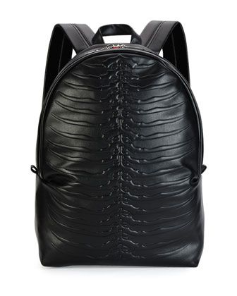 Ribcage-Embossed Leather Backpack, Black by Alexander McQueen at Neiman Marcus.