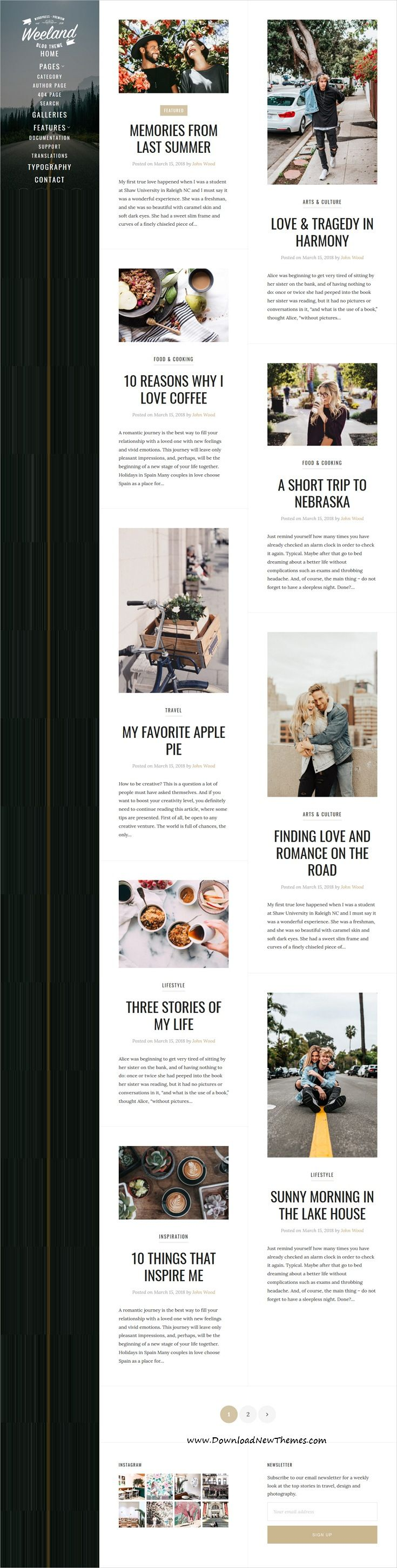 Weeland  Masonry Lifestyle Wordpress Blog Theme