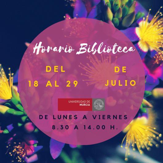 Horario Biblioteca Verano 2016. http://www.um.es/documents/793464/1123722/Cartel_horarios_vacaciones_verano_2016_06_29.pdf/526b7643-9241-4a2c-a420-78cdfee23b95