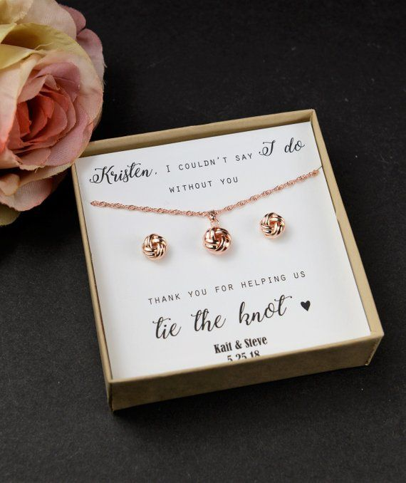 bb09dc000 Knot Earrings Bridesmaid Gift Knot Earring Necklace Set Rose Gold Sets Bridesmaid  Earrings Bridesmaid Sets Love Knot Earrings
