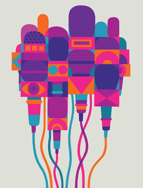 "Illustration ""Microphone Party"" by Adrian Johnson illustration pop art"