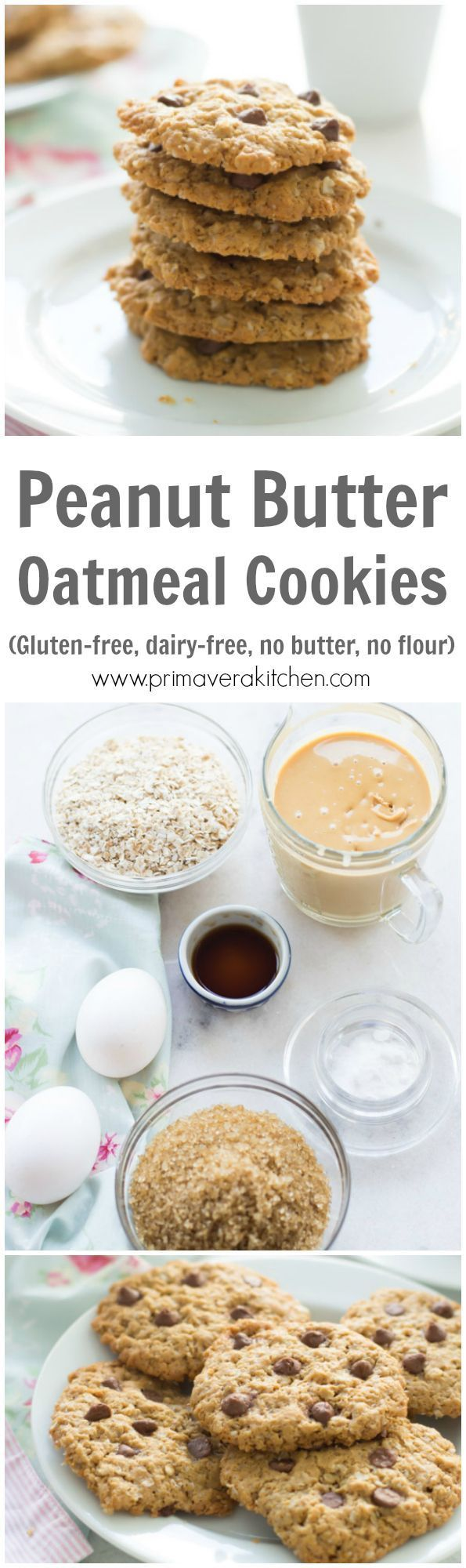 Healthy Peanut Butter Oatmeal Cookies - This delicious, soft, chewy and gluten-free Healthy Peanut Butter Oatmeal Cookies are made with no…