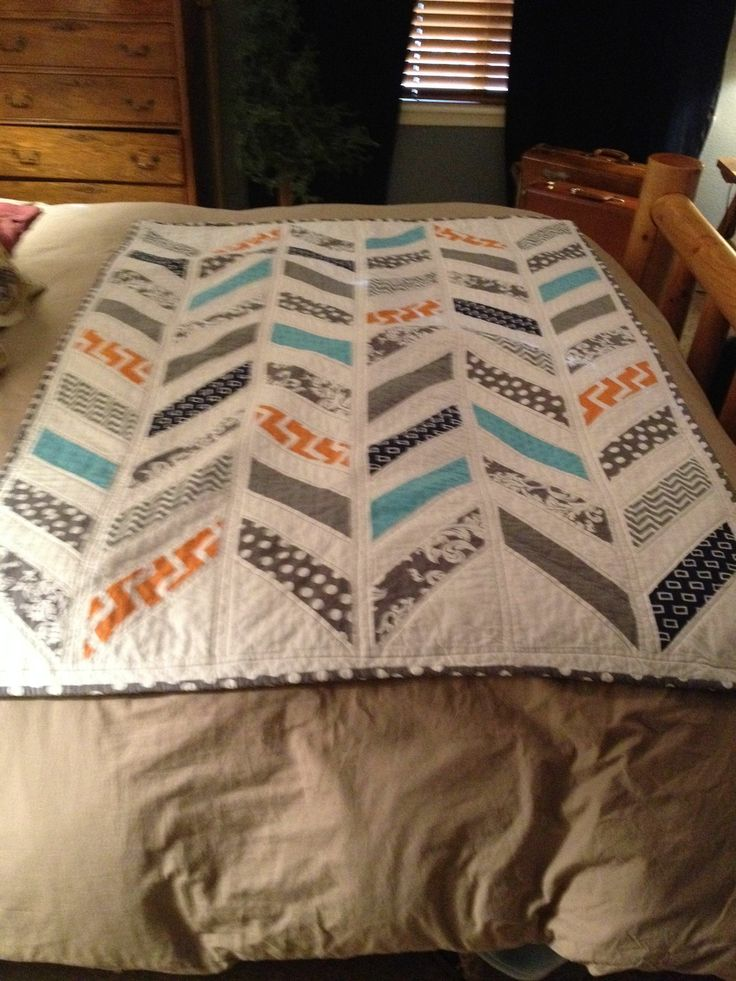 Grey, orange, navy & bright blue herringbone quilt for baby boy Platt