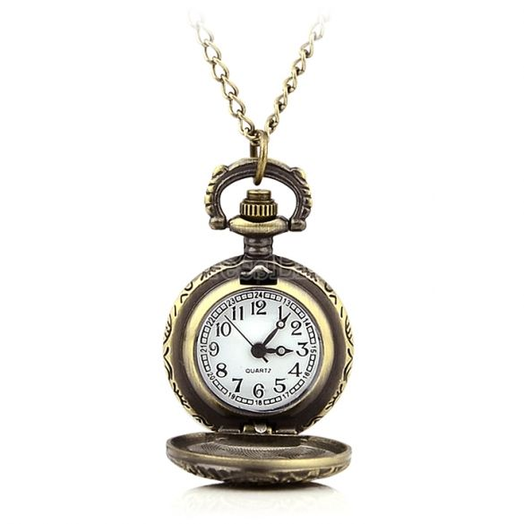 Vintage Bronze Punk Steampunk cuarzo reloj de bolsillo de cadena pendiente de