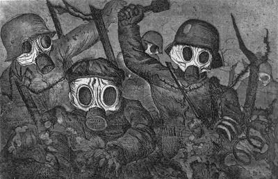 this picture was made in 1924 it represents when the enemy would wear gas masks and use mustard gas and attack the enemy