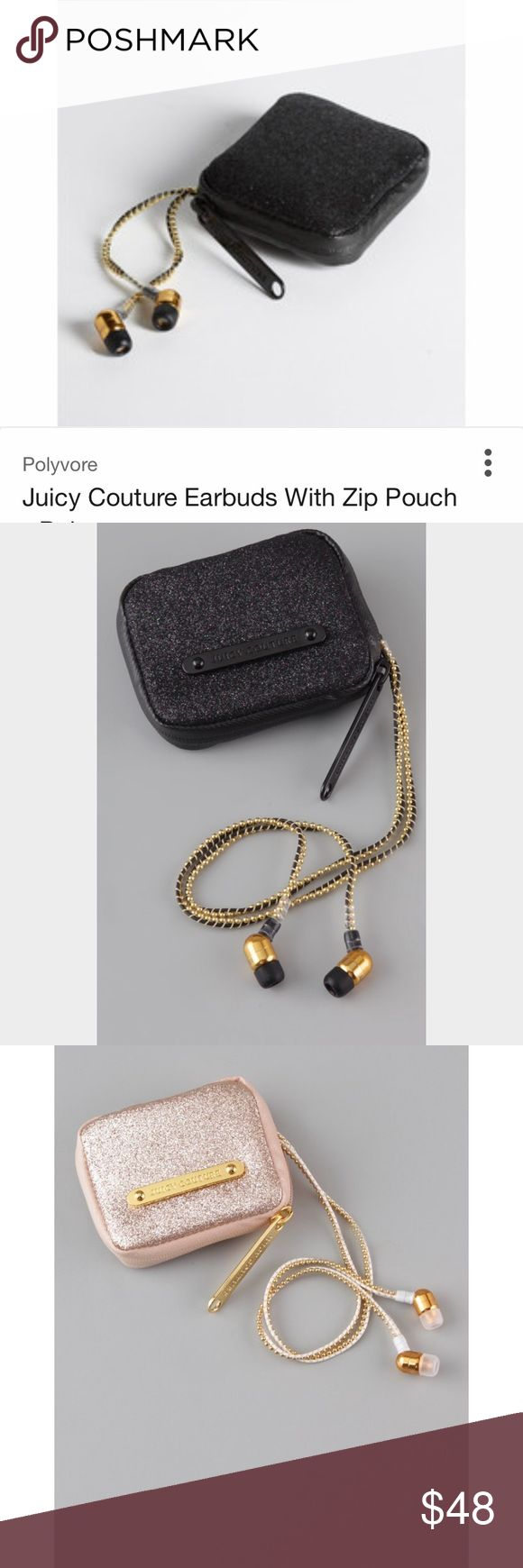 Juicy Couture! Gold Threaded Earbuds! OS Juicy Couture! Gold Threaded Earbuds! •The ones for sale are BLACK, the gold is just for extra close up pics •EUC never used. • Comes with fur-lined zip around sparkly case. Juicy Couture Accessories