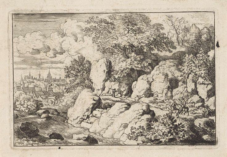 Allaert van Everdingen | Landschap met twee ruiters op een rotspad, Allaert van Everdingen, 1631 - 1675 | Berglandschap met een stad aan een snelstromende rivier. Op het bergpad twee personen te paard, een wandelaar en een zittend figuur.