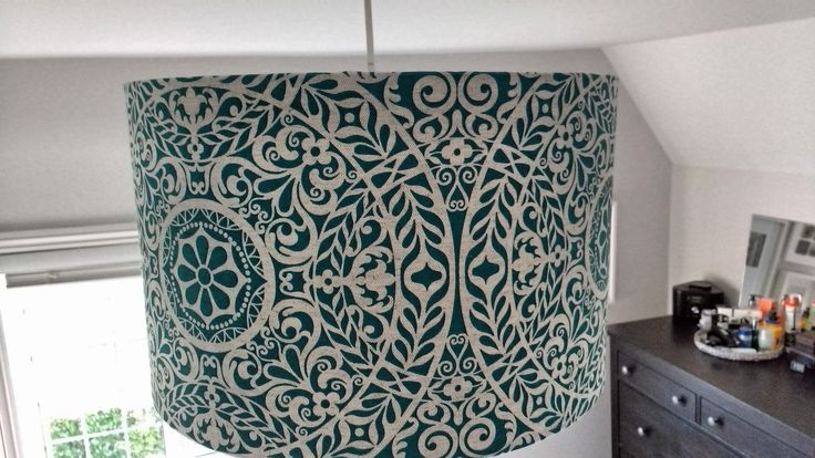 Handmade Drum Lampshade in Richloom Tachenda Teal Linen £32.00 #funkyolive
