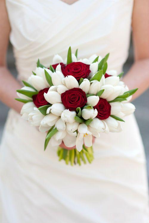 Rosa roja y blanca del tulipán Ramo de la boda
