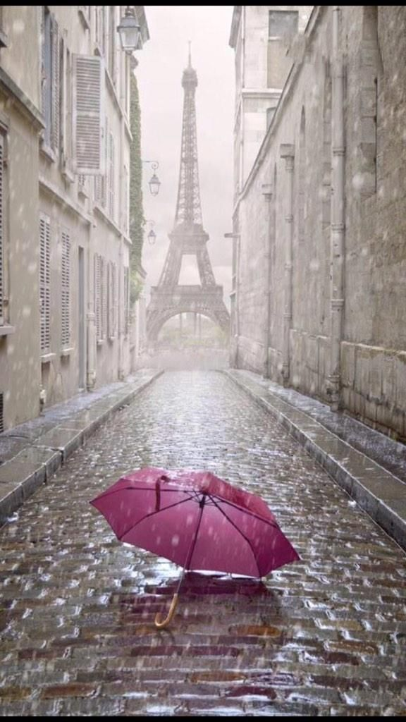 Rainy, Paris, kind of like your Church St. but with a different focal point at the end of this street. There is our umbrella, again, too.