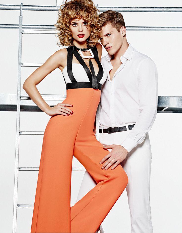 black and white, orange, elegant jumpsuit
