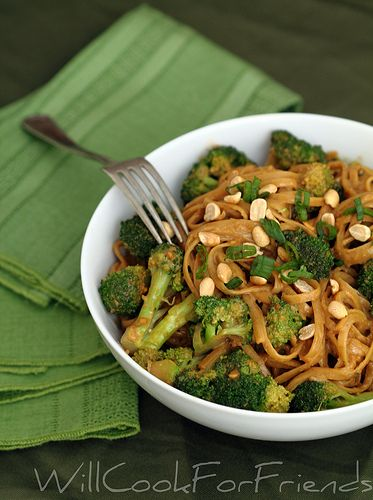 Spicy peanut sauce with linguine and broccoli. Vegan & delicious. Tastes like something I would pay for in a restaurant.