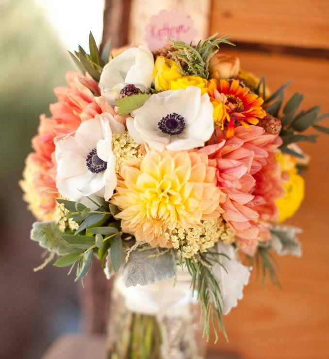 dahlias and anemones--sweet peas for a natural cascade: Peaches Dahlias, Inspiration, Fall Bouquets, Dahlias Bouquets, Wedding Bouquets, Colors, Flowers, Dusty Miller, Anemones