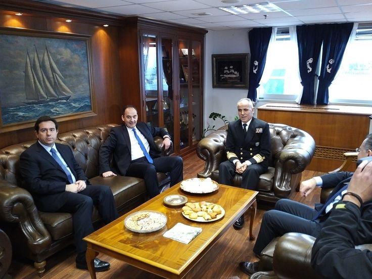Συνάντηση Ι. Πλακιωτακη - Ν. Μηταράκη με τον Αρχηγό του Λιμενικου Σωματος
