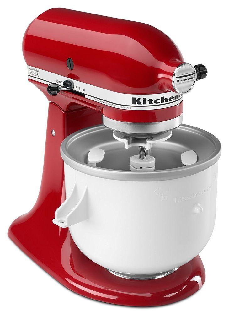 Kitchenaid Kica Ice Cream Frz Yogurt Sorbet Maker Stand Mixer Attachment Kica0wh Kitchenaid Ice Cream Maker Kitchen Aid Kitchen Aid Mixer