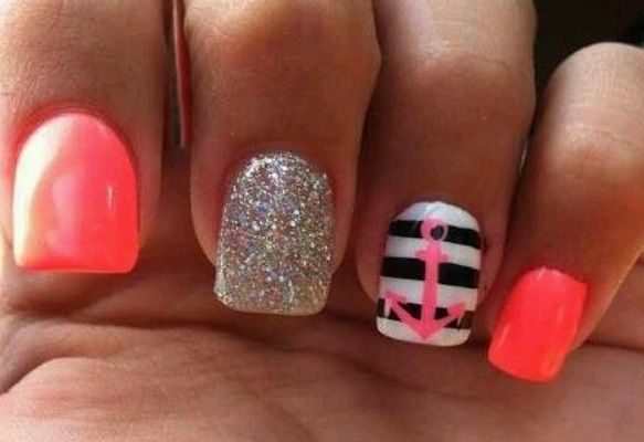 cute nails with anchors | Coral nails with sailor anchor design and glitter | Fashion