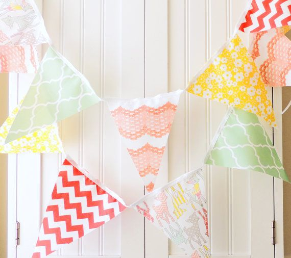 21 Fabric Flags Banner, 9 Feet Deer Bunting, Peach, Mint, Yellow, Coral, Baby Nursery Decor, Photo Prop,